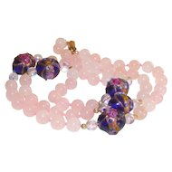 Pink Quartz and Venetian Wedding Cake Beads Necklace