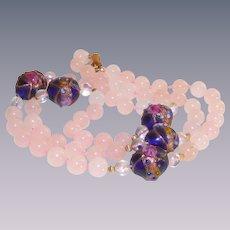 Pink Quartz and Venetian Wedding Cake Beads Necklace
