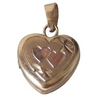 Vintage Tiny Baby Heart  Locket 14 kt Gold Fill