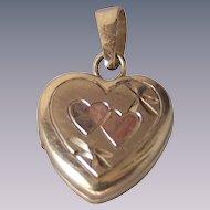 Vintage Tiny Baby Heart  Locket 14 kt Gold Fill