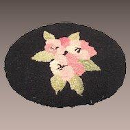 Vintage Doll House Hooked Rug Pink Roses on Black Background