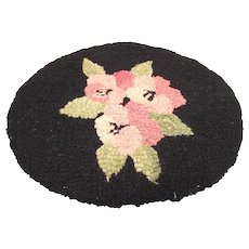 Vintage Doll House Hooked Rug Pink Roses on Black Background