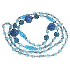 """Art Deco Era Flapper Beads Azure Blue Molded Czech Glass  27"""" Long"""