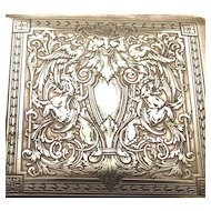 Hand Chased Brass Cigarette Box Circa 1880s Satyr's and Griffons and Cranes