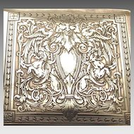 Hand Chased Brass Cigarette Box Circa 1880s Satyr's and Griffins and Cranes