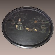 Mary Had A Little Lamb Tole Tray Stenciled Early and Large