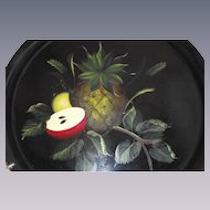 Vintage Tole Tray Pineapple and Fruit Round in Shape
