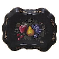 Vintage Tole Tray with Hand Painted Fruit Artist Signed