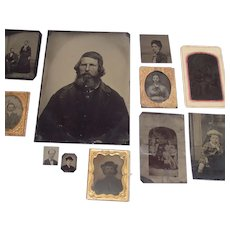 Vintage Tin Types including Two Tiny Locket Size Eleven Piece Collection