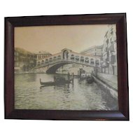 Vintage Rialto Bridge and Gondoliers Photograph C.1900 in the Original Frame