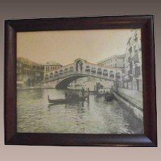 Vintage Rialto Bridge and Gondoliers Photograph C.1900 in the Original Frame