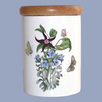 Portmeirion Canterbury Bells Canister aka Red Star