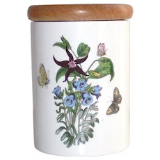 Vintage Portmeirion Canterbury Bells Canister also known as Red Star One in the Botanic Gardens Line