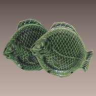Vintage Dryden Fish Plate Tin Glaze Arts and Crafts Green