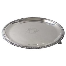 Vintage English Silver Plate Tray or Salver Lion Footed made in Silver over Copper