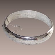 Vintage Sterling Bangle Hinged with Safety Chain Nicely Machine Etched