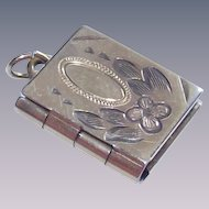 Vintage  Book Locket with Chased Work Cover Tiny 1940s