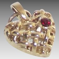 Vintage Heart Charm with Tiny Red Stone and Open Lattice Work