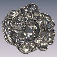 Vintage Art Nouveau Lady Floral Brooch Sterling Silver