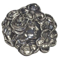 Art Nouveau Lady Floral Brooch in Sterling Silver
