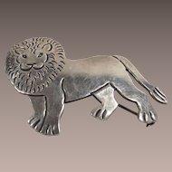 Vintage Mexican Artist Signed Lion Figural Brooch