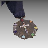 Vintage Masonic Rainbow Girls Cross of Color Medal with original Ribbon