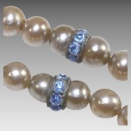 Vintage Fifty Three inch Long Faux Pearls with Blue Roundels
