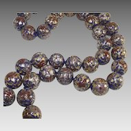 Vintage Cobalt Blue Cloisonné Beads Very Large