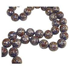 Vintage Cobalt Blue Cloisonné Beads Very Large