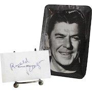 Ronald Reagan Autograph and Small Reagan Tray circa 1976
