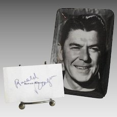 Ronald Reagan Autograph and Small Reagan Tray circa 1976