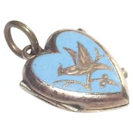 Victorian Hair Memorial Locket Robins Egg Blue Enamel with Bird