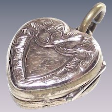 Victorian Heart Shaped Locket with Lovely Machine Tooling in Rolled Gold