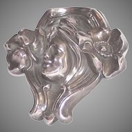 Art Nouveau Sterling Lady Brooch Flowing Hair with Flowers