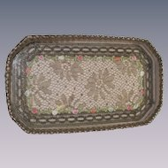 French Metallic Lace Dresser Tray with Ribbon Flowers
