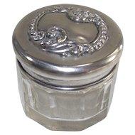 Vintage Crystal Dresser Jar with Sterling Lid Rouge Pot