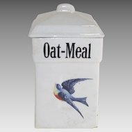Vintage Blue Bird Oatmeal Canister 1920's