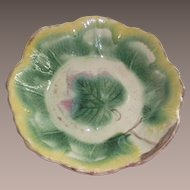 Victorian Majolica Master Ice Cream Bowl Maple Leaf Pattern