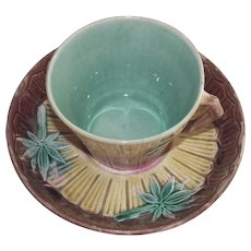 Etruscan Majolica Bamboo Cup & Saucer GSH