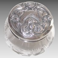 Victorian Sterling Art Nouveau & Cut Crystal Dresser Jar Lady with Water Lilies