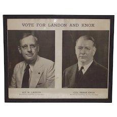 Vintage 1936 Landon and Knox Framed Campaign Poster