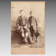Vintage Cabinet Card of Two Very Poor and Sweet Young Farm Boys