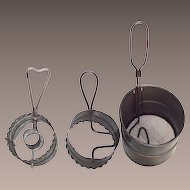 Vintage Early Tin Kitchen Sifters and a Doughnut Cutter