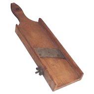 Vintage Mandolin Food Slicer Hand Hewn Wooden Circa 1900 Kitchen Country