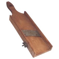 Vintage Mandolin Food Slicer Hand Hewn Wooden Circa 1900 Kitchen Country