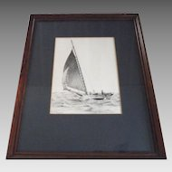 "Artist Signed Etching by Hawks Tall Ship Sailing Titled ""Gusting""   numbered 835/980  Framed"
