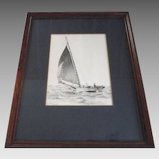 """Artist Signed Etching by Hawks Tall Ship Sailing Titled """"Gusting""""   numbered 835/980  Framed"""