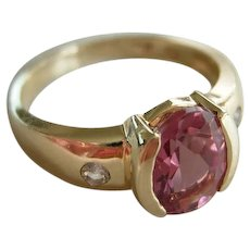 Bubble Gum Pink Tourmaline 1.5Ct.  14KT. Yellow Gold  with Diamonds