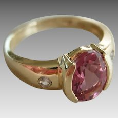Vintage Tourmaline 1.5Ct.  14KT. Yellow Gold  with Diamonds sz 6 Bubble Gum Pink