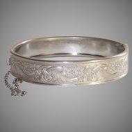 Mid Century Tooled Bangle Bracelet White Metal Fully Machine